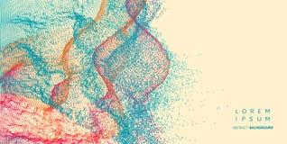 Kleurrijke achtergrond in de technologiestijl 3d netwerkontwerp met deeltje royalty-vrije illustratie