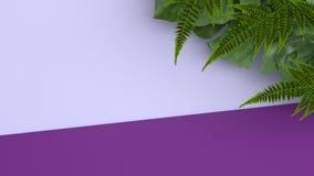 Kleurrijke achtergrond en tropische bladeren Rood nam toe 3d geef terug Royalty-vrije Stock Foto