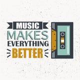 Kleurrijke achtergrond met audiocassette en Engelse teksten De muziek maakt beter alles stock illustratie
