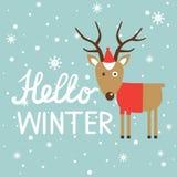 Kleurrijke achtergrond met herten, sneeuw en tekst vector illustratie