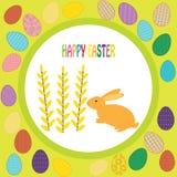 Kleurrijke achtergrond met konijn en doopvont Stock Foto's