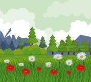 Kleurrijke achtergrond met landschap van bomen en bloemgebied stock illustratie