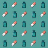 Kleurrijke achtergrond met patroon van geanimeerde geneeskundeflessen en pillen stock illustratie