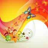 Kleurrijke achtergrond met vlinder Stock Afbeeldingen