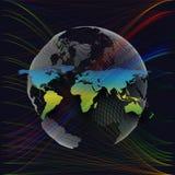 Kleurrijke achtergrond met wereldkaart, abstracte golven, lijnen Stock Foto's
