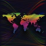 Kleurrijke achtergrond met wereldkaart, abstracte golven, lijnen Heldere kleurenkrommen, werveling Motieontwerp Kleurrijke Vector Stock Afbeeldingen