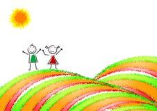 Kleurrijke achtergrond, prentbriefkaar met een gelukkig kind. royalty-vrije illustratie