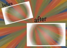 Kleurrijke achtergrond vóór en na Stock Foto's
