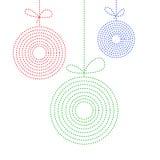 Kleurrijke achtergrond van drie Kerstmisballen in een stijl van de lijnkunst Royalty-vrije Stock Afbeeldingen