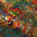 Kleurrijke achtergrond Volks art Hekserij 2 Regenboog en vlinders Rode Groenachtig blauwe Kleuren Kleurrijke Psychedelische Chaos Royalty-vrije Stock Foto