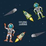 Kleurrijke affiche die de ruimte met spaceshipsastronauten en asteroïden onderzoeken vector illustratie