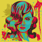 Kleurrijke affiche hairstyle royalty-vrije illustratie