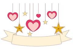 Kleurrijke affiche - lint, harten en sterren Royalty-vrije Stock Afbeeldingen