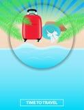 Kleurrijke affiche om reispakketten aan overzees te adverteren leisure Se stock illustratie