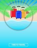Kleurrijke affiche om reispakketten aan overzees te adverteren leisure Se royalty-vrije illustratie