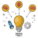 Kleurrijke affiche van creatieve mening met de gloeilamp in close-up en hersenen in cirkels en pictogrammen van raket en pignon royalty-vrije illustratie