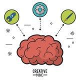 Kleurrijke affiche van creatieve mening met hersenen en pictogrammen van raket en pignon en borstel vector illustratie