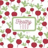 Kleurrijke affiche van gezond voedsel met achtergrondpatroon van bieten stock illustratie