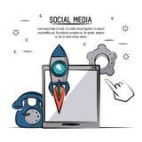 Kleurrijke affiche van sociale media met tabletapparaat en raket en oude telefoon en pignon royalty-vrije illustratie