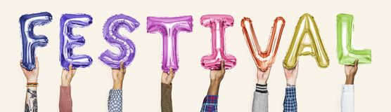 Kleurrijke alfabetballons die het woordfestival vormen royalty-vrije stock foto