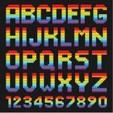 Kleurrijke Alfabetreeks Regenboog rond gemaakte vierkanten Royalty-vrije Stock Fotografie