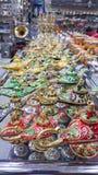 Kleurrijke ali baba` s lampen Marakesh, Marokko stock fotografie