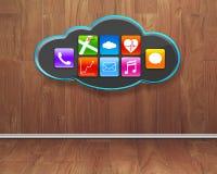 Kleurrijke app pictogrammen op zwarte wolk met houten binnenlandse backgroun Stock Foto