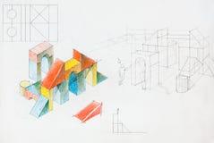 Kleurrijke architecturale schets Stock Foto's