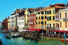 Kleurrijke architectuur, Grand Canal, Venetië, Italië, Europa stock foto's