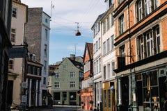 Kleurrijke architectuur in Kopenhagen, Denemarken stock foto's
