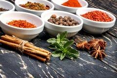 Kleurrijke aromatische Indische kruiden en kruiden op een oude eiken houten diepe blauwe raad Stock Afbeeldingen