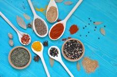 Kleurrijke aromatische specerijenkruiden op blauwe achtergrond royalty-vrije stock foto