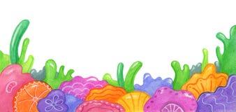 Kleurrijke artistieke bloemendieachtergrond op wit wordt geïsoleerd Stock Afbeeldingen