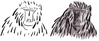Kleurrijke artistieke geïsoleerde baviaan vector illustratie
