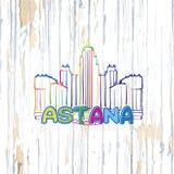 Kleurrijke Astana die op houten achtergrond trekken royalty-vrije illustratie