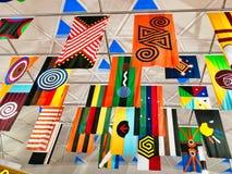 Kleurrijke Australische Inheemse Motiefbanners, Sydney Airport stock afbeelding