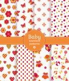 Kleurrijke baby naadloze patronen. Vectorreeks. Stock Afbeeldingen