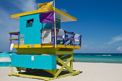 Kleurrijke Badmeester Tower in Zuidenstrand, het Strand van Miami Royalty-vrije Stock Afbeelding