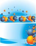 Kleurrijke ballen op abstracte blauwe achtergrond Stock Foto's