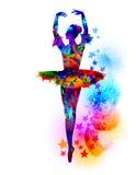 Kleurrijke ballerinaillustratie Stock Afbeeldingen