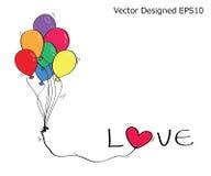 Kleurrijke ballon met liefdetekst en hart Stock Afbeelding