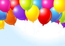 Kleurrijke ballons die omhoog vliegen Stock Fotografie