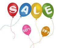 Kleurrijke ballons en kortingsverkoop Royalty-vrije Stock Foto's
