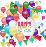 Kleurrijke ballons Gelukkige Verjaardag op witte achtergrond royalty-vrije illustratie