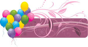 Kleurrijke ballons met bloemenornament. Banner Stock Afbeeldingen