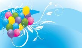 Kleurrijke ballons met bloemenornament en bellen Stock Afbeeldingen