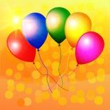 Kleurrijke ballons op een heldere achtergrond Stock Afbeelding