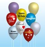 Kleurrijke Ballons in Vector Royalty-vrije Stock Afbeeldingen