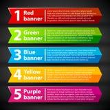 5 kleurrijke banners met aantallen en tekst Stock Afbeelding