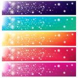 5 kleurrijke banners met glanzende zon Stock Foto